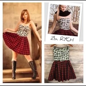 💫  2b Rych wool houndstooth strapless dress r280